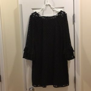 NewDirections,lace lined ruffled bell sleeve dress